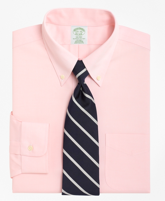 Non-Iron Milano Fit Button-Down Collar Dress Shirt Pink