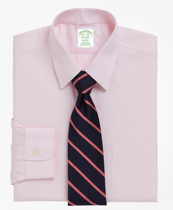 Milano Slim-Fit Dress Shirt, Non-Iron Point Collar Pink