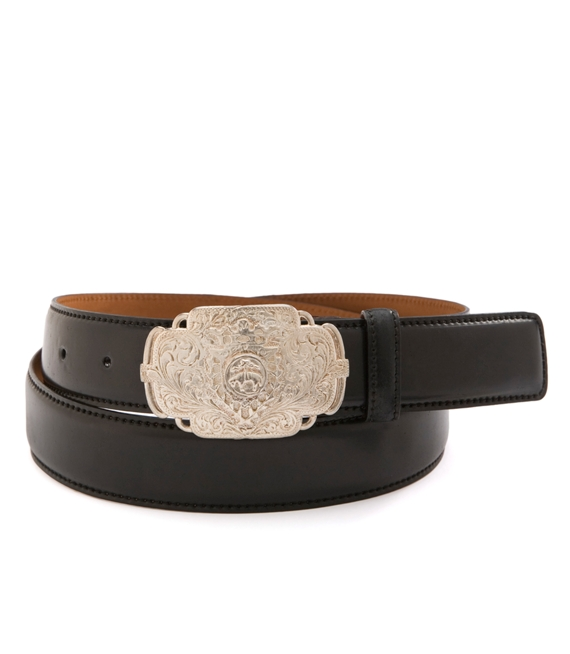 Cordovan Belt with Etched Buckle Black