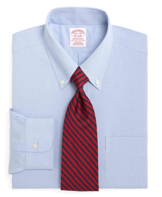 Non-Iron Traditional Fit Houndstooth Dress Shirt Light Blue
