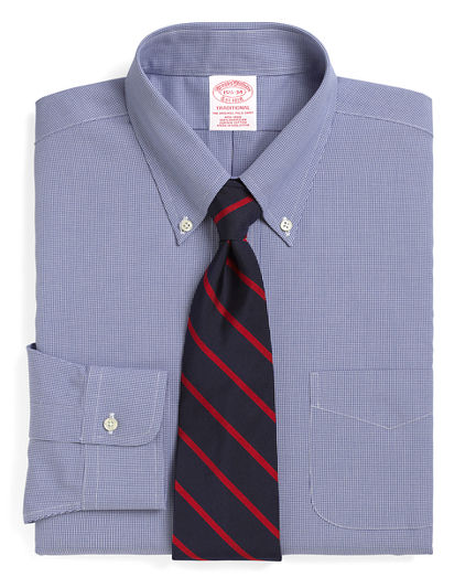 Traditional Relaxed-Fit Dress Shirt, Non-Iron Houndstooth