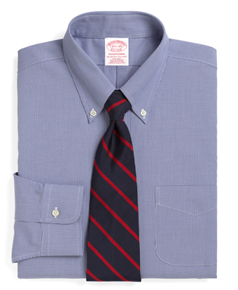 Non-Iron Traditional Fit Houndstooth Dress Shirt