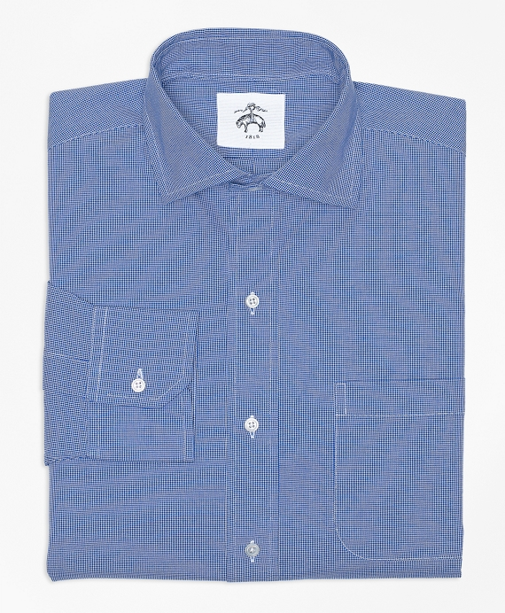 Houndstooth Spread Collar Shirt Dk Blue Houndstooth