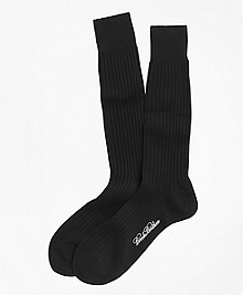 Egyptian Cotton Ribbed Crew Socks