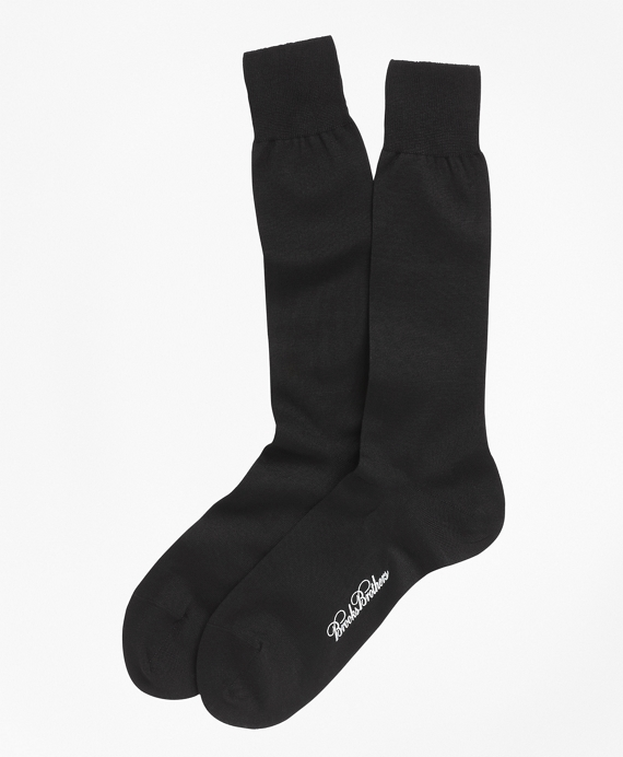 Egyptian Cotton Jersey Knit Crew Socks Black
