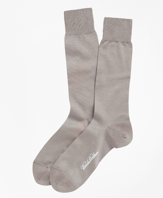 Egyptian Cotton Jersey Knit Crew Socks Taupe