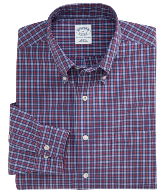 Slim Fit Washed Plaid Sport Shirt Blue