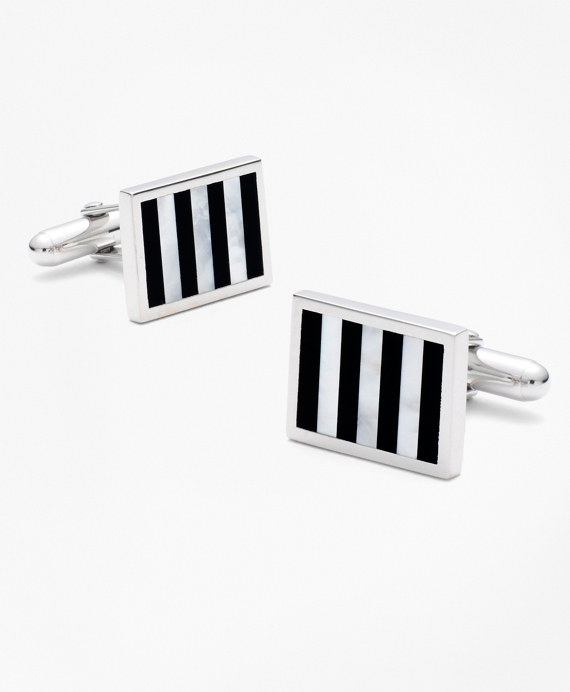 Onyx and Mother-of-pearl Silver Cuff Links As Shown