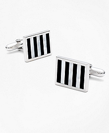 Onyx and Mother-of-pearl Silver Cuff Links