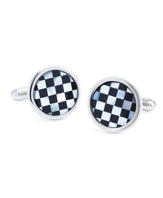 Round Checkerboard Classic Cuff Links Black-White