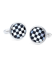 Round Checkerboard Classic Cuff Links