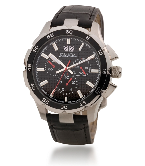 Black Chronograph Big Date Watch with Alligator Band Black