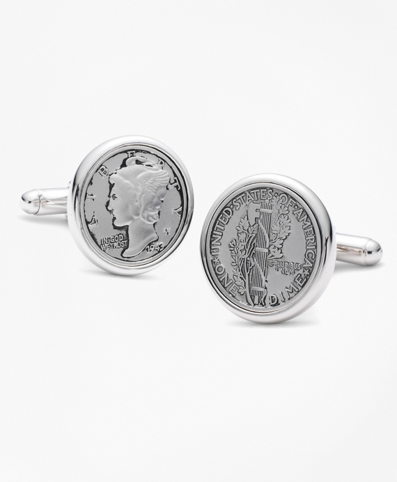 Replica Mercury Dime Coin Cuff Links Silver