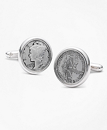 Replica Mercury Dime Coin Cuff Links