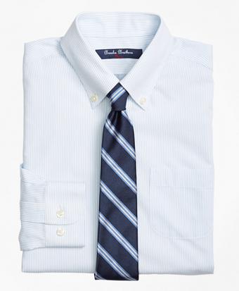 Non-Iron Supima® Cotton Broadcloth Mini Stripe Dress Shirt