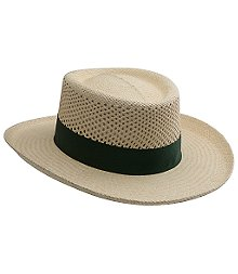 "Straw golf hat with perforated holes in the top part of the crown. 3"" brim with green band. Dri Lexpolyester sweatband to wick away moisture from the skin. Imported."