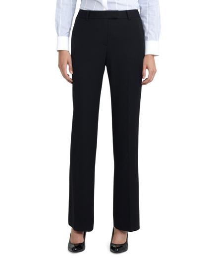 Petite Plain-Front Caroline Fit Fluid Stretch Dress Trousers