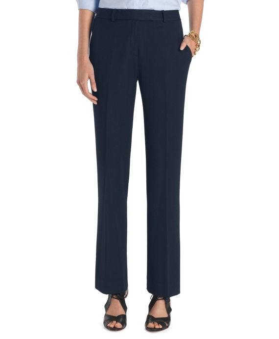 Petite Plain-Front Caroline Fit Fluid Stretch Dress Trousers Navy