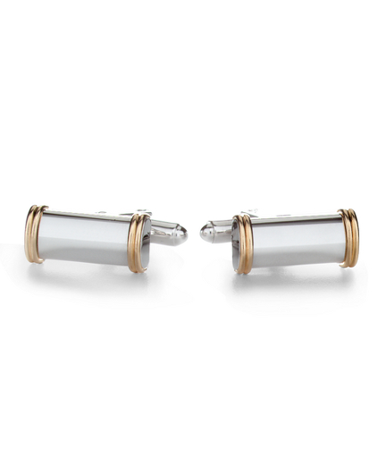 14k Gold and Silver Bar Cuff Links
