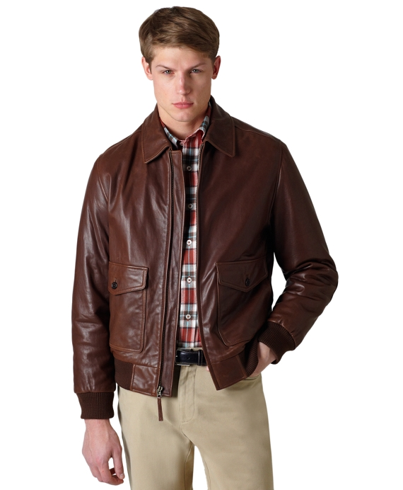 Vintage Leather Bomber Brown