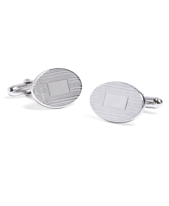Engine-Turned Oval Cuff Links Sterling Silver