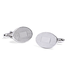 Engine-Turned Oval Cuff Links