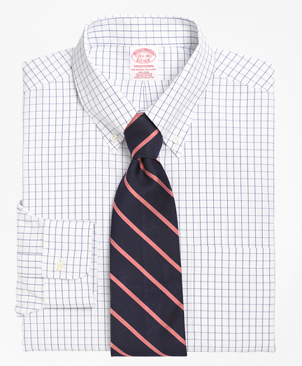 Traditional Relaxed-Fit Dress Shirt, Non-Iron Windowpane