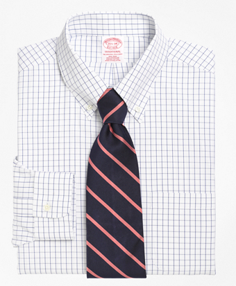 Non-Iron Traditional Fit Windowpane Dress Shirt