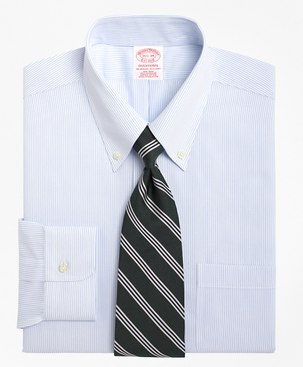 Traditional Relaxed-Fit Dress Shirt, Non-Iron Mini Pinstripe