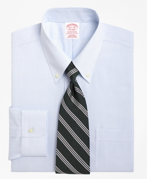 Non-Iron Traditional Fit Mini Pinstripe Dress Shirt Blue