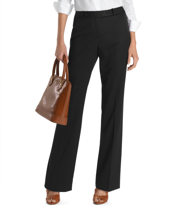 Petite Plain-Front Caroline Fit Gabardine Dress Trousers Black