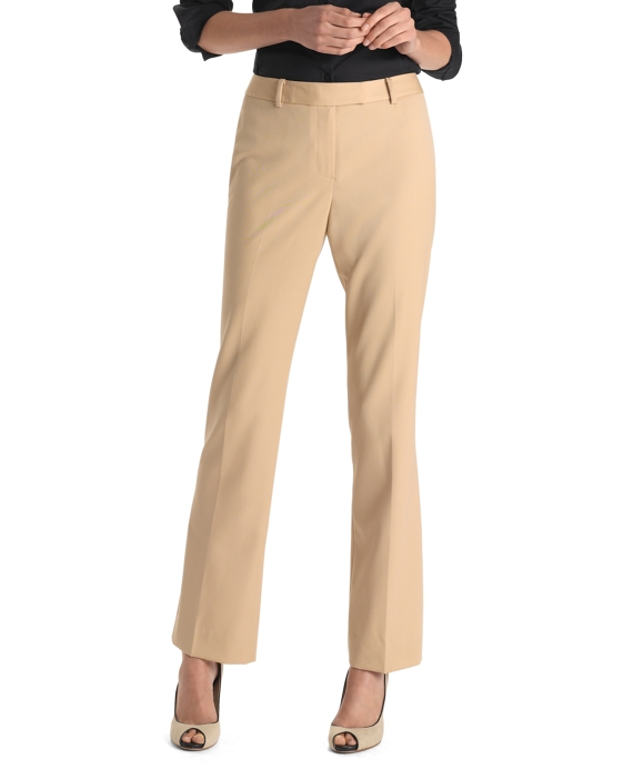 Petite Plain-Front Caroline Fit Gabardine Dress Trousers Dune