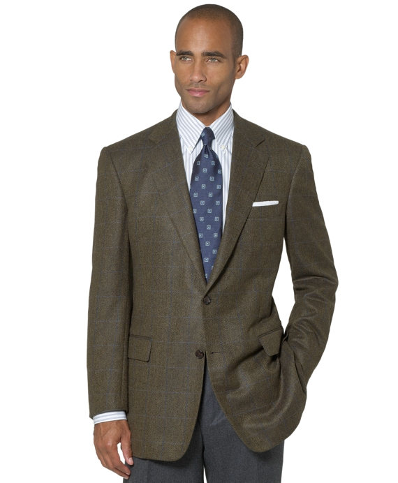 Madison Fit Cashmere Herringbone with Deco Sport Coat Green