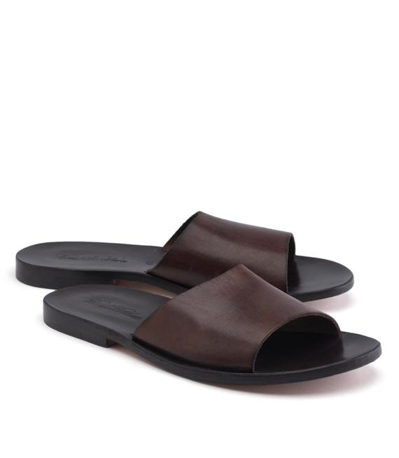 Leather Slide Sandals Dark Brown