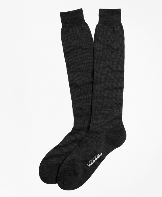 Merino Wool Mini Dot Over-the-Calf Socks Black