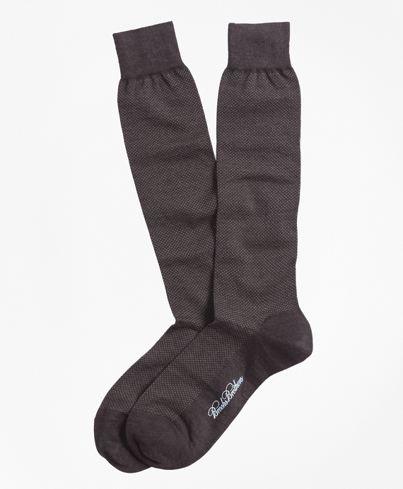 Merino Wool Mini Dot Over-the-Calf Socks Brown