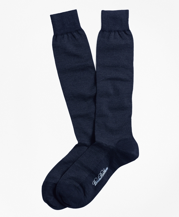 Merino Wool Mini Dot Over-the-Calf Socks Navy