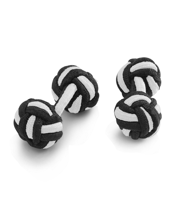 Knot Cuff Links Black White