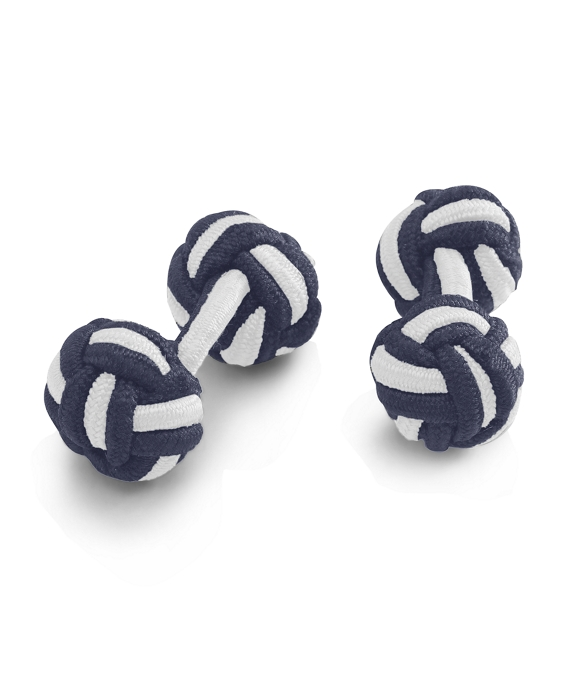 Knot Cuff Links Navy-White