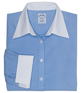Petite Non-Iron Three-Quarter Sleeve Gingham Dress Shirt with DOW XLA&#0153