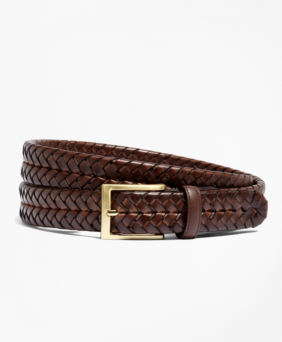 Leather Braided Belt Burgundy