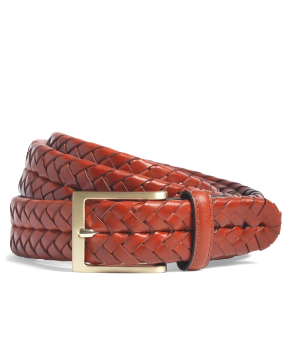 Leather Braided Belt Light Brown