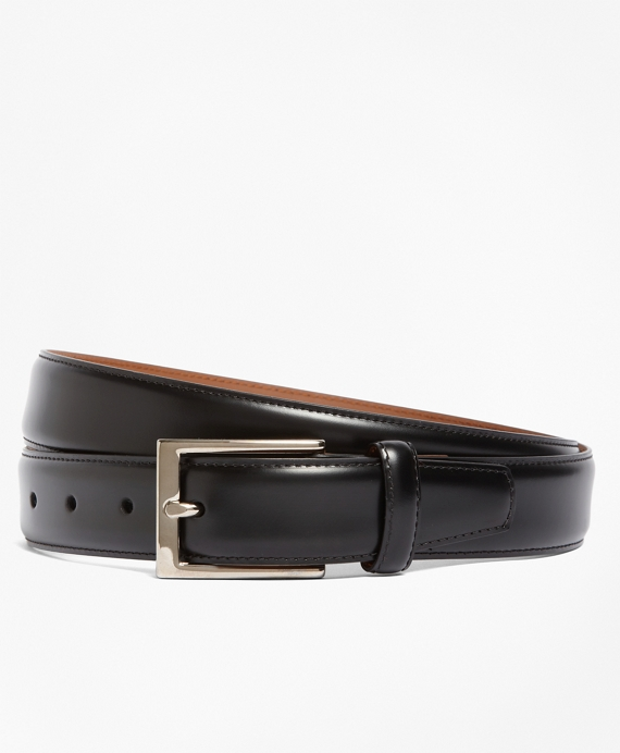 Silver Buckle Leather Dress Belt