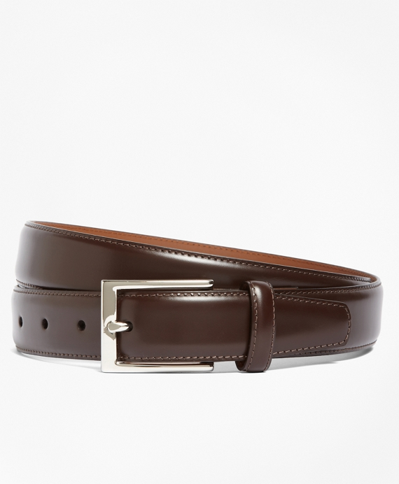 Silver Buckle Leather Dress Belt Brown