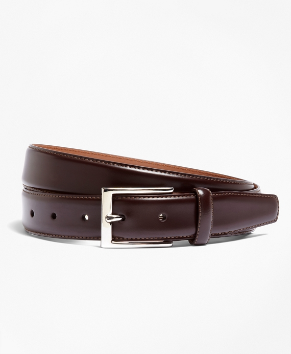 Silver Buckle Leather Dress Belt Burgundy