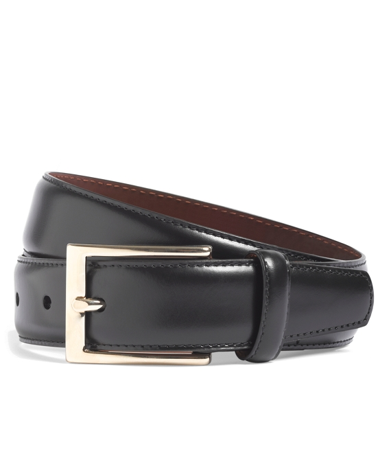 Gold Buckle Leather Dress Belt Black