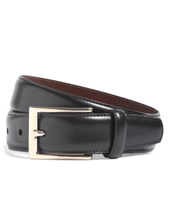 Gold Buckle Leather Dress Belt