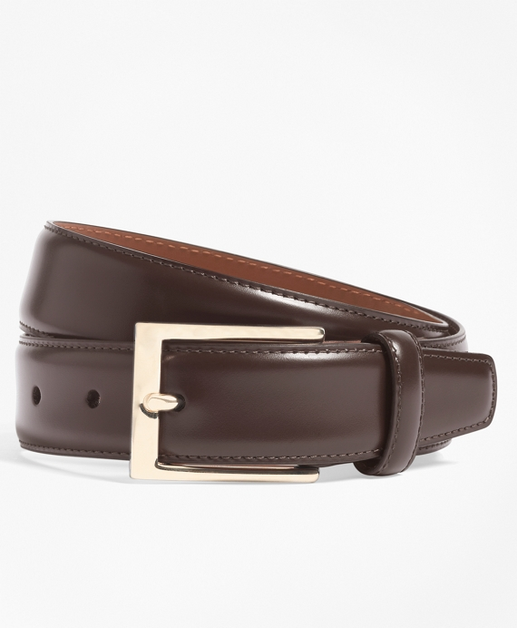 Gold Buckle Leather Dress Belt Brown
