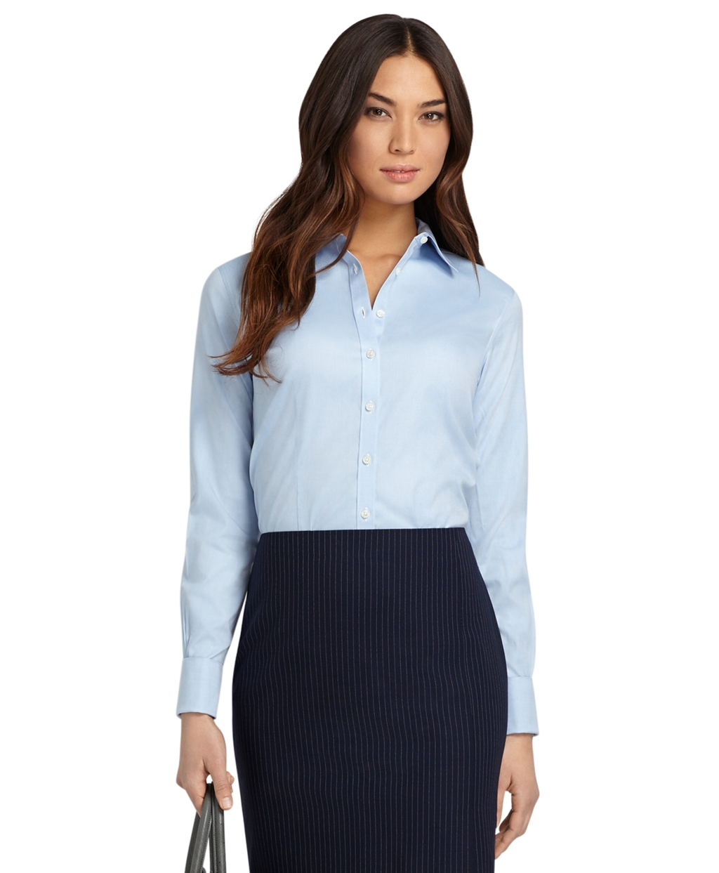 Women S Non Iron Fitted French Cuff Dress Shirt Brooks Brothers