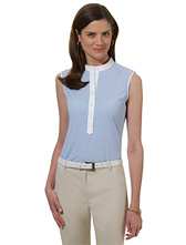 Petite Non-Iron Sleeveless Stripe Dress Shirt with DOW XLA&#0153�